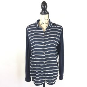Ann Taylor Large Striped Long Sleeve Shirt